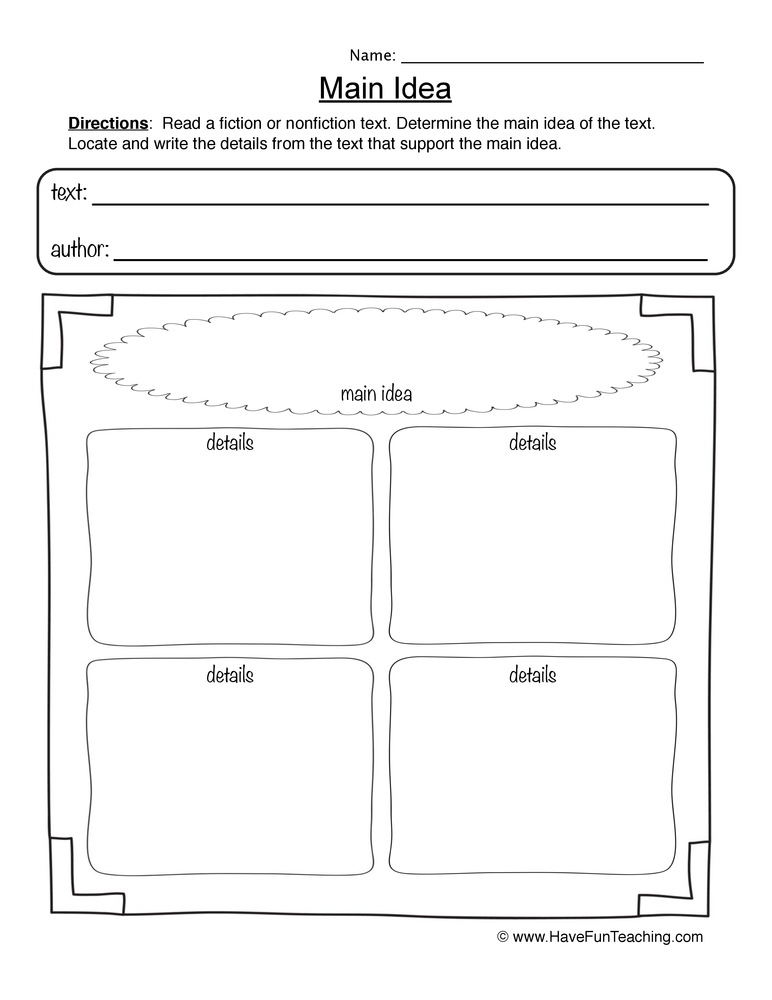 math worksheet : main idea worksheets  have fun teaching : Kindergarten Main Idea Worksheets
