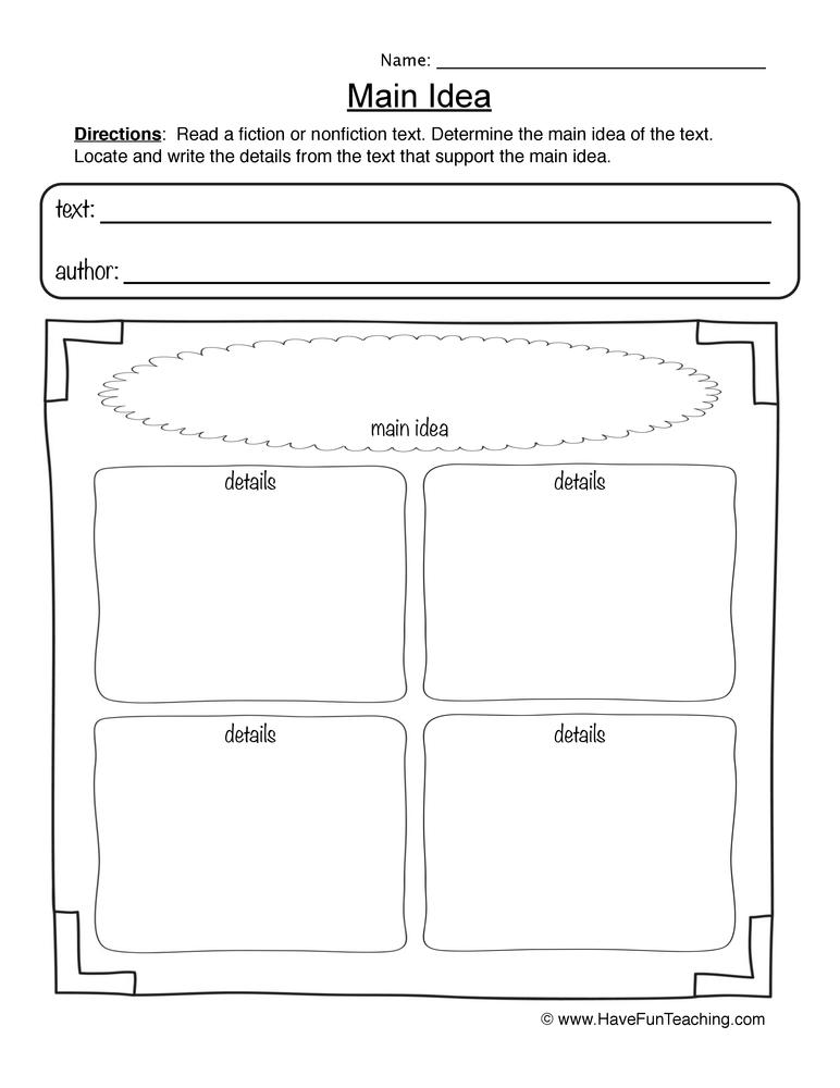 Main Idea – Main Idea Worksheet