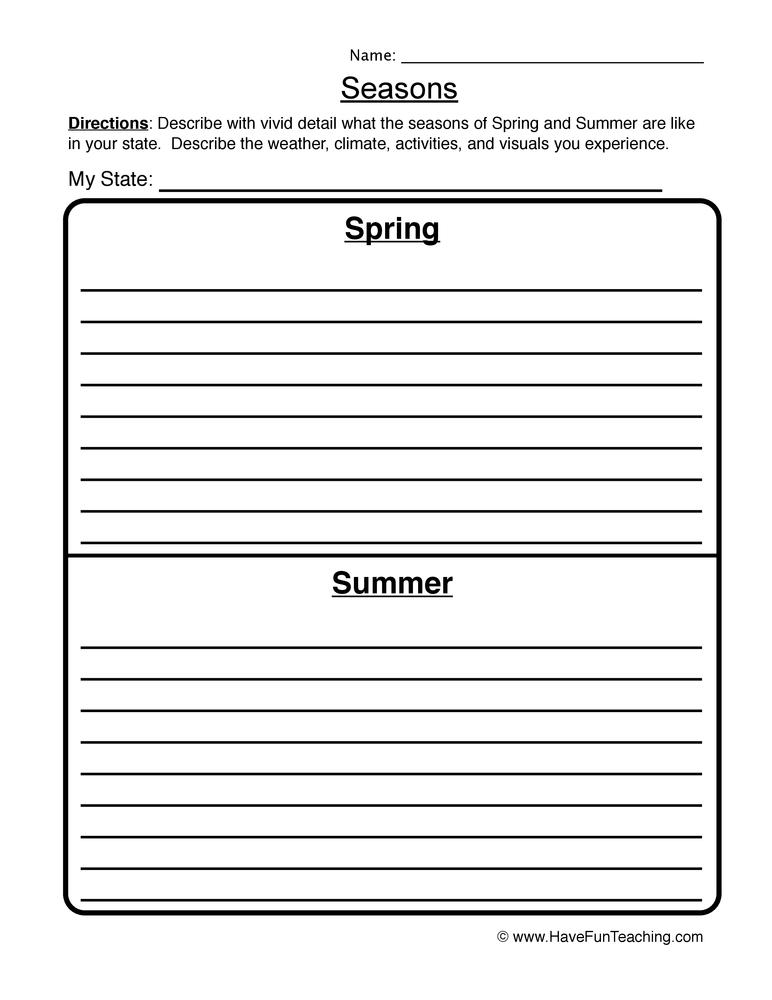 Science Seasons Worksheets Resources