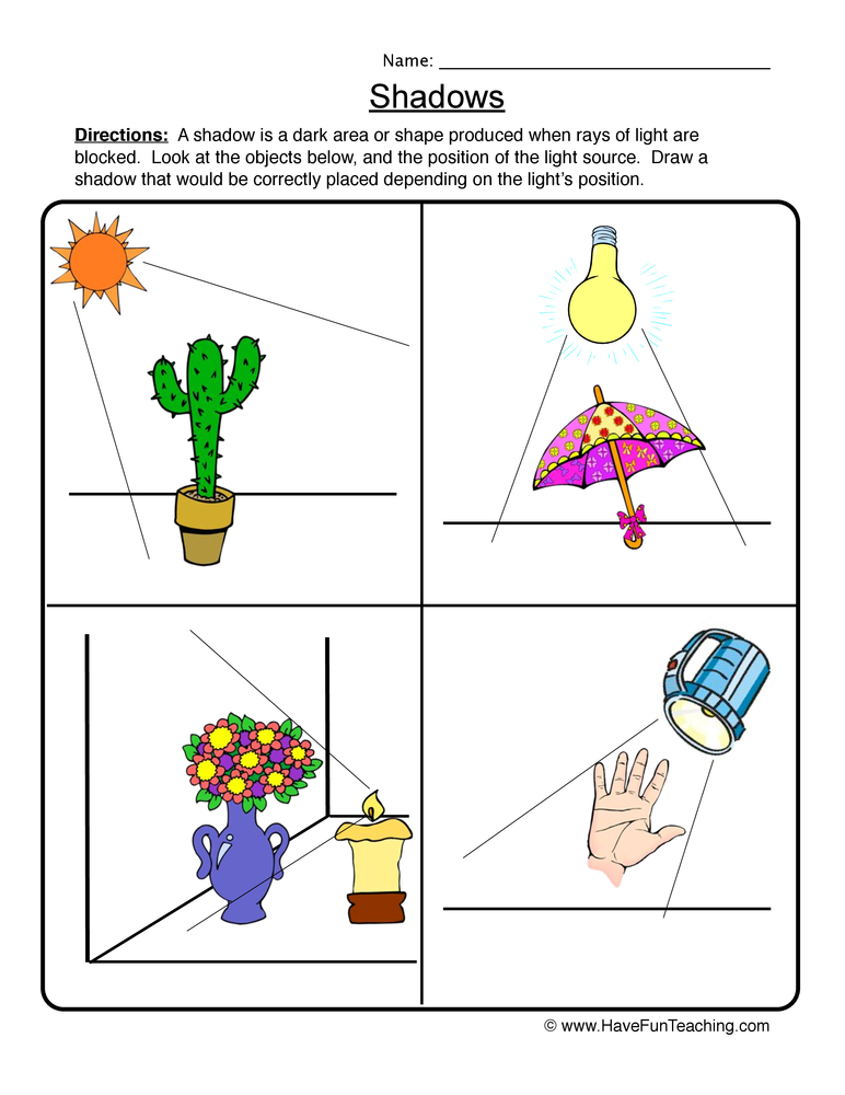 shadows worksheet 1