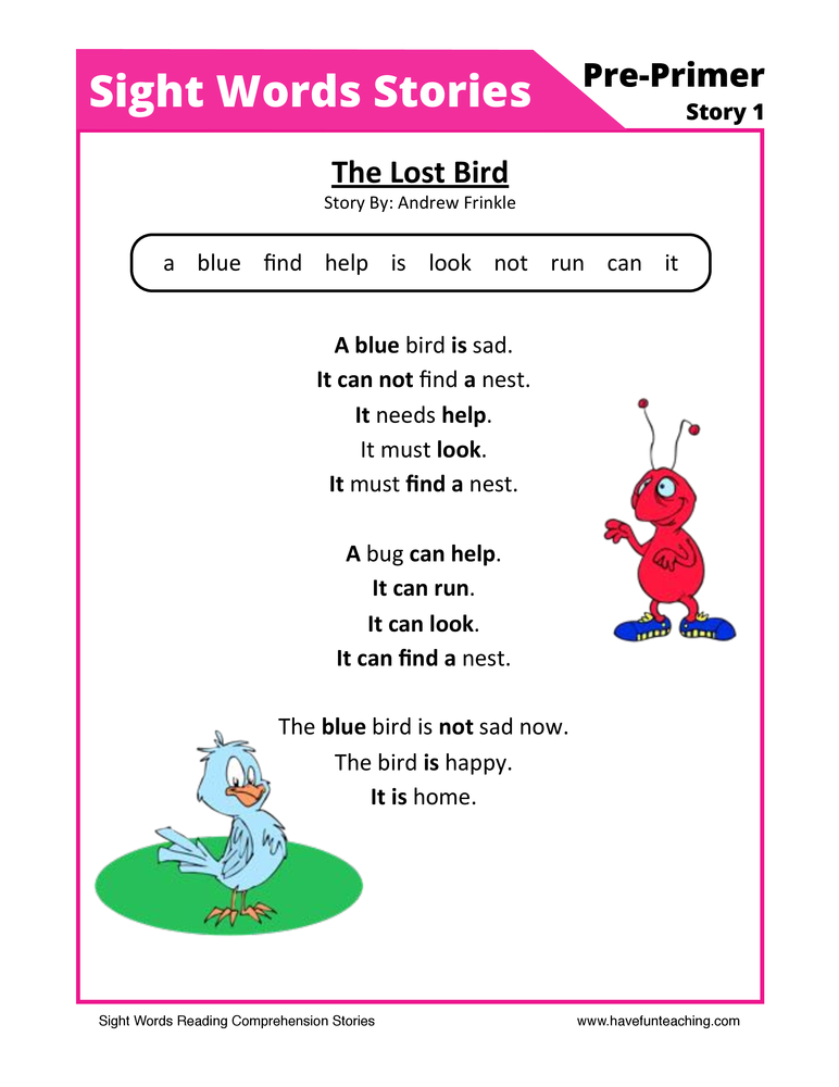 sight words reading comprehension 1