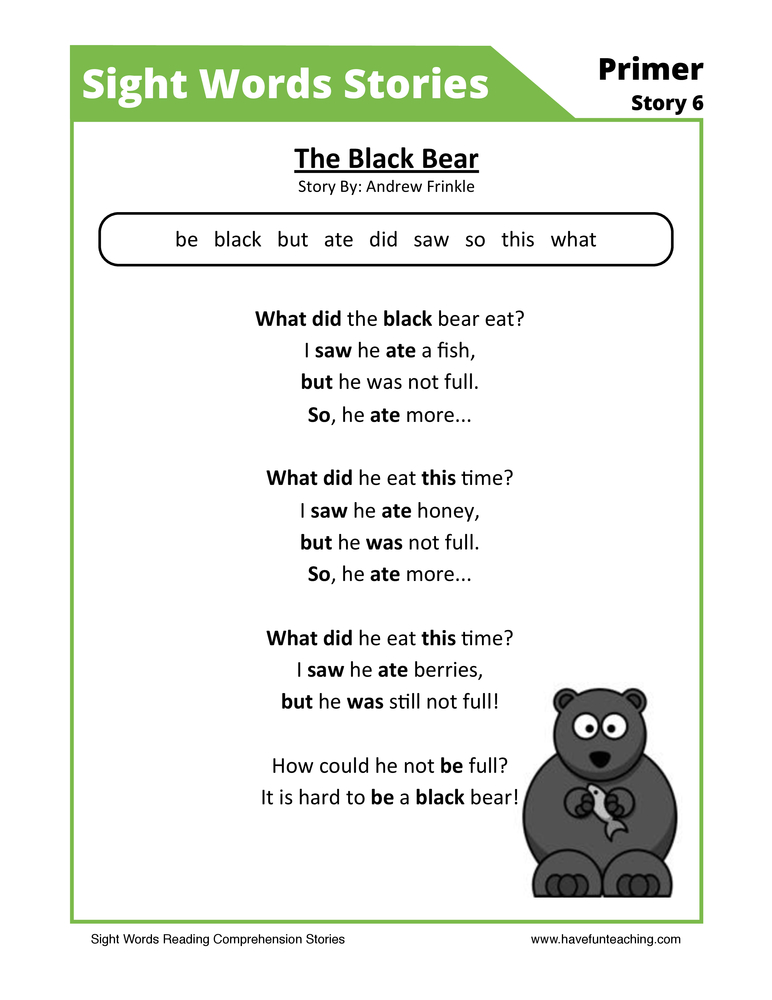 The Black Bear Primer Sight Words Reading Comprehension Worksheet