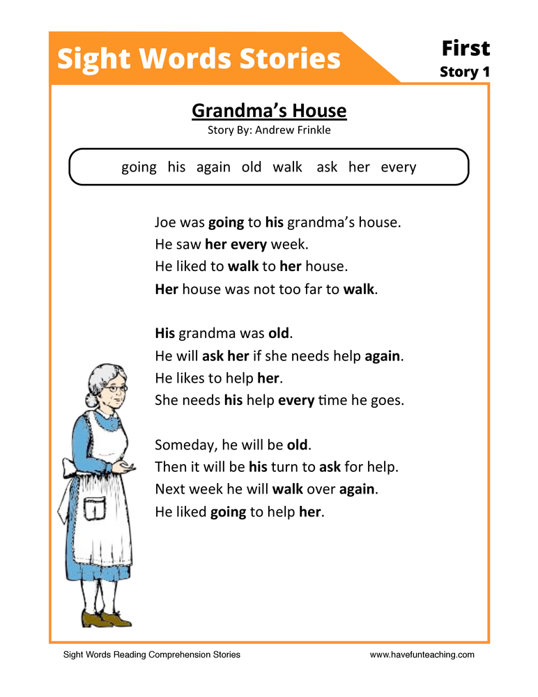 Grandma's House First Sight Words Reading Comprehension Worksheet
