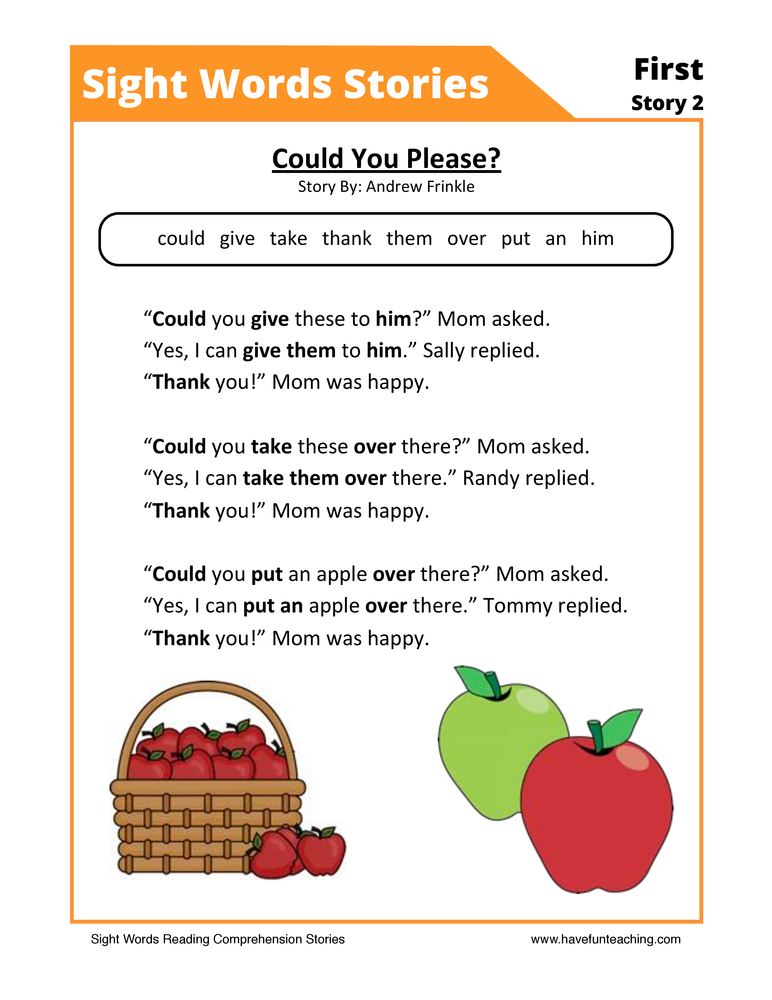 Could You Please? First Sight Words Reading Comprehension Worksheet