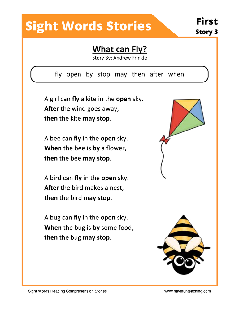 What Can Fly? First Sight Words Reading Comprehension Worksheet