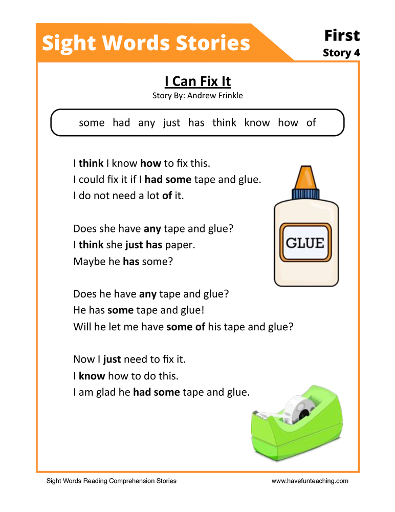 I Can Fix It First Sight Words Reading Comprehension