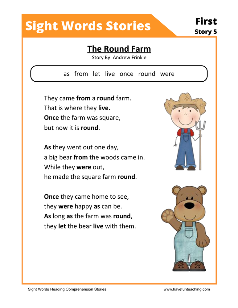 The Round Farm First Sight Words Reading Comprehension Worksheet