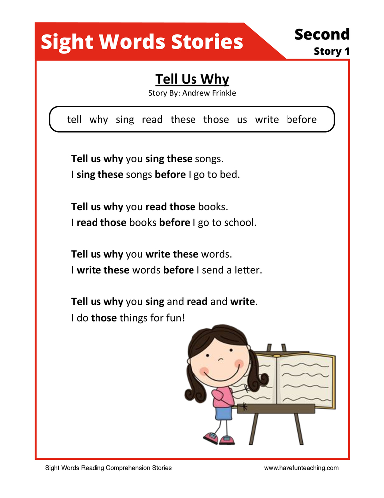 Tell Us Where Second Sight Words Reading Comprehension Worksheet
