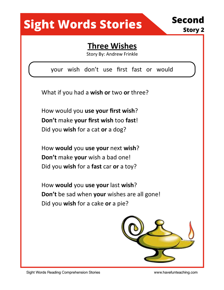 sight words reading comprehension 17