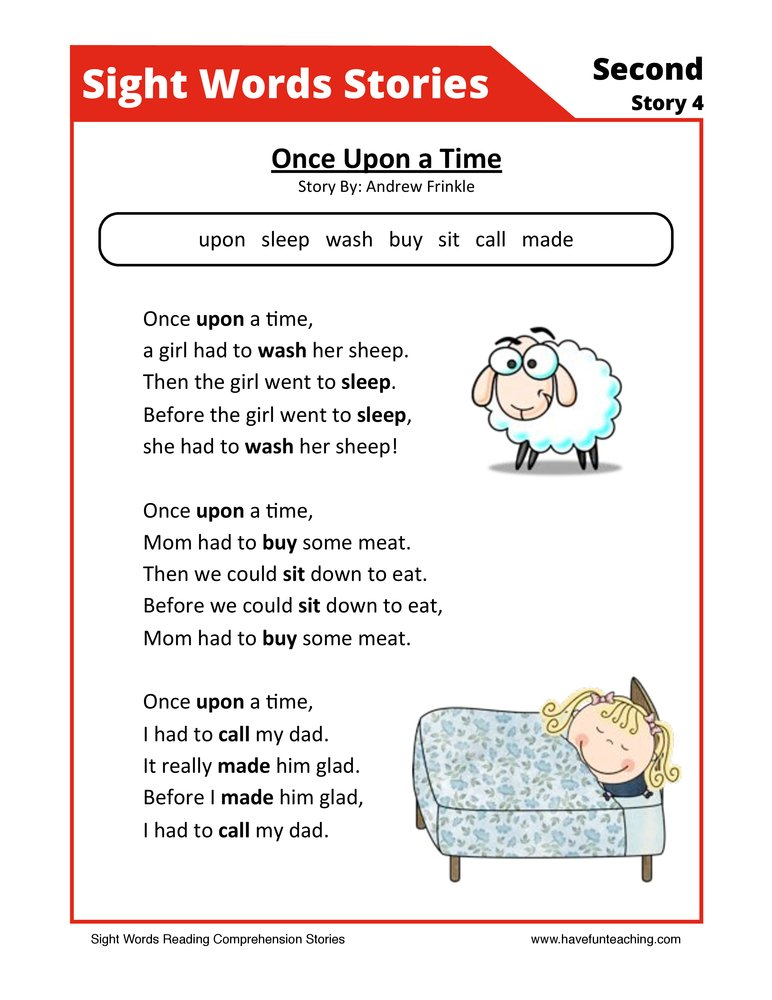 comprehension worksheet sight words stories 22 reading comprehension ...