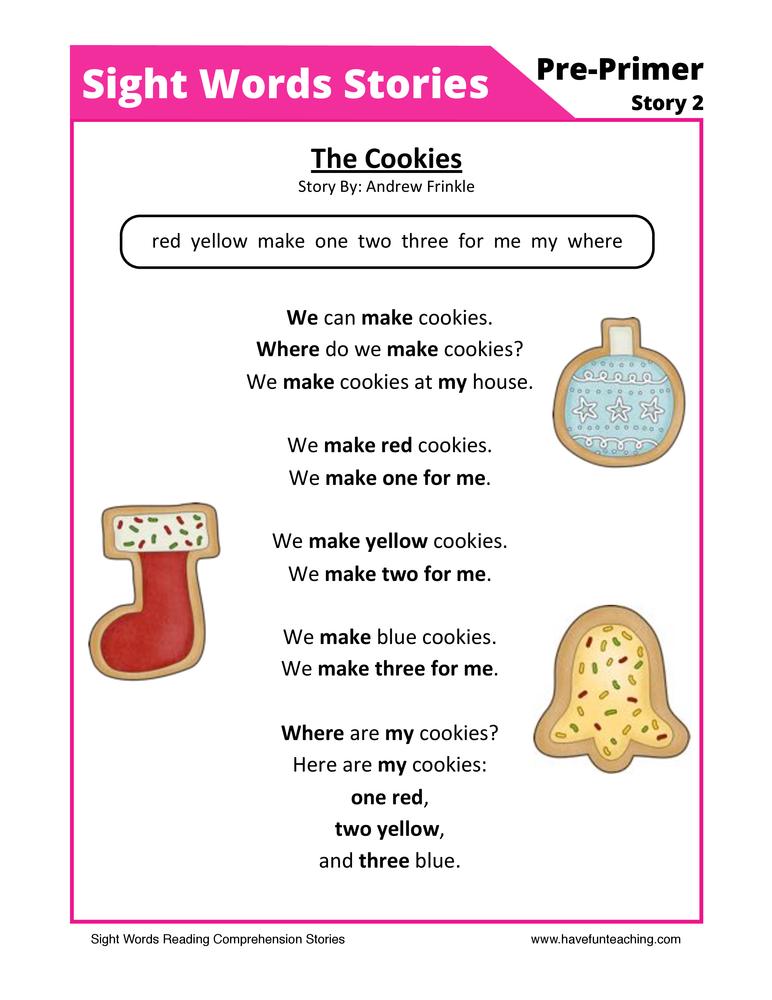 Sight Words Stories - 2 - Reading Comprehension Worksheet