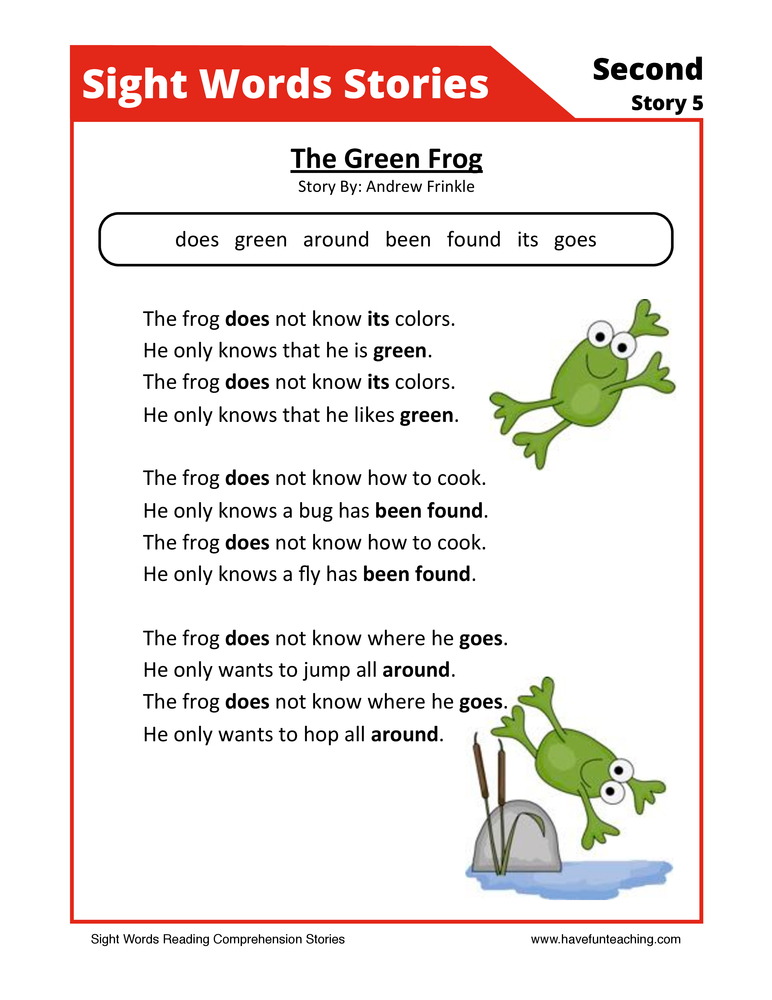 sight words reading comprehension 20