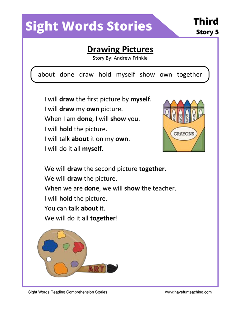 math worksheet : kindergarten reading comprehension worksheets  have fun teaching : Story Worksheets For Kindergarten