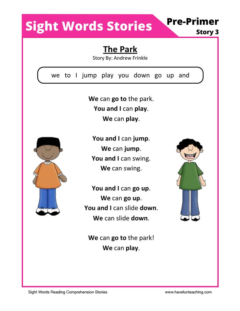 The Pack Pre-Primer Sight Words Reading Comprehension Worksheet