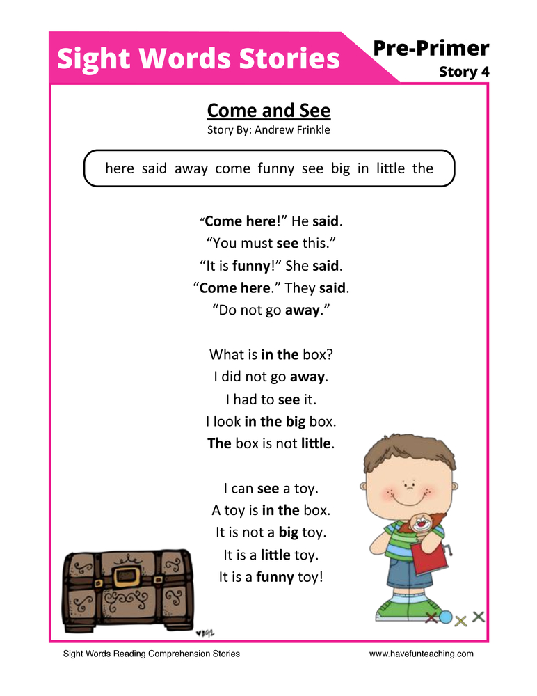 sight words reading comprehension 4