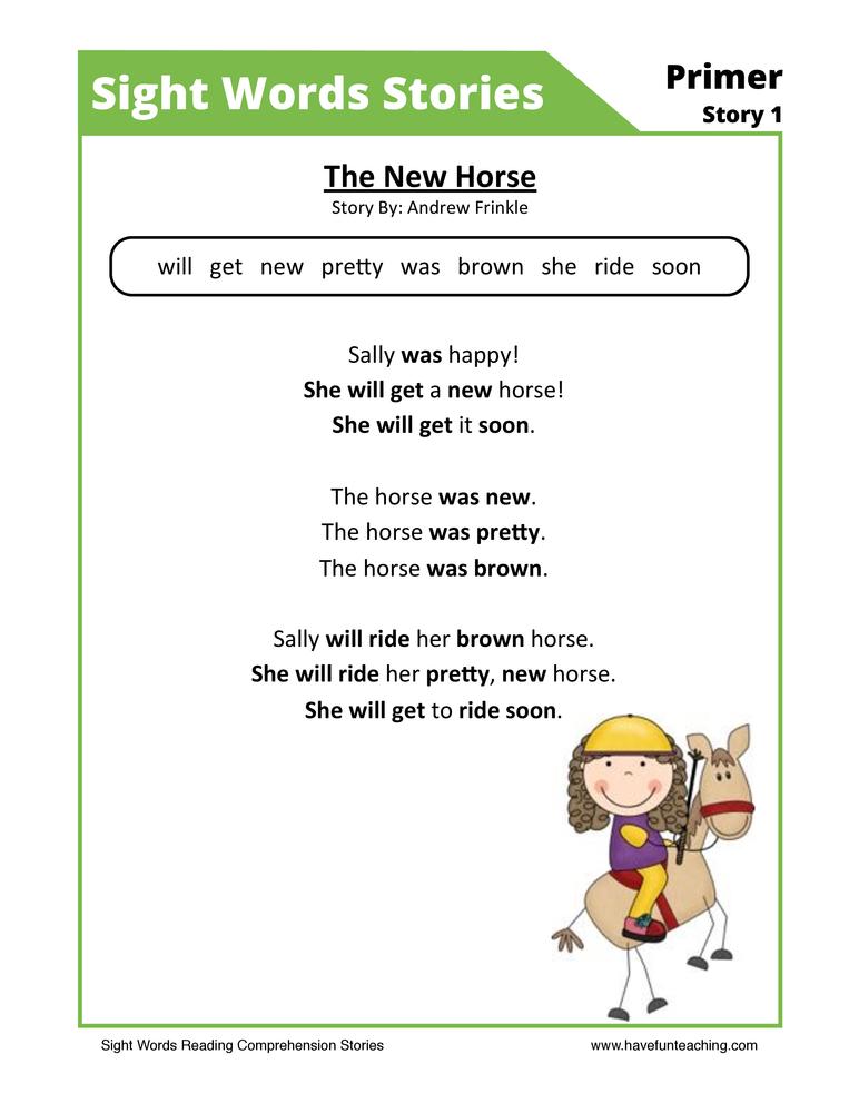 The New Horse Primer Sight Words Reading Comprehension Worksheet