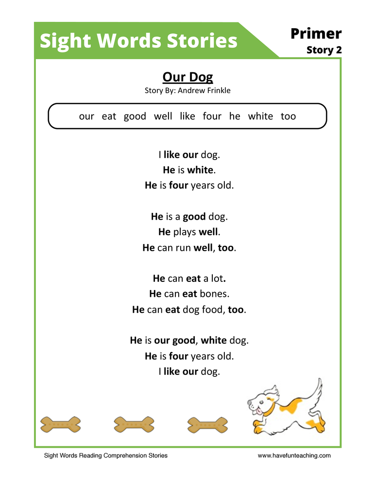 sight words reading comprehension 6