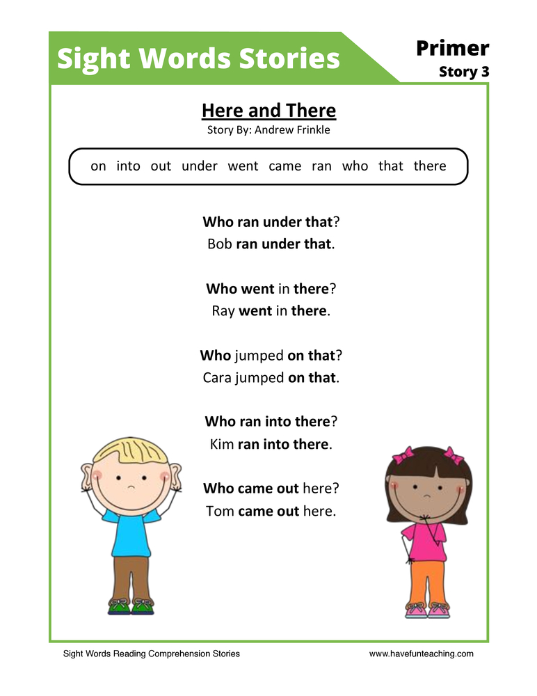 Here and There Primer Sight Words Reading Comprehension Worksheet