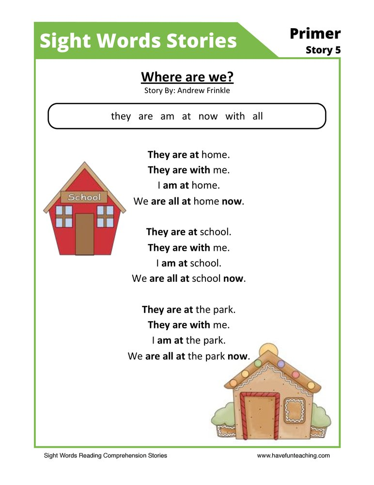 Where are We? Primer Sight Words Reading Comprehension Worksheet