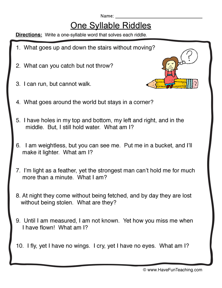 Syllable Worksheets Have Fun Teaching. One Syllable Riddles Syllables Worksheet 1. Worksheet. Syllable Worksheet At Clickcart.co