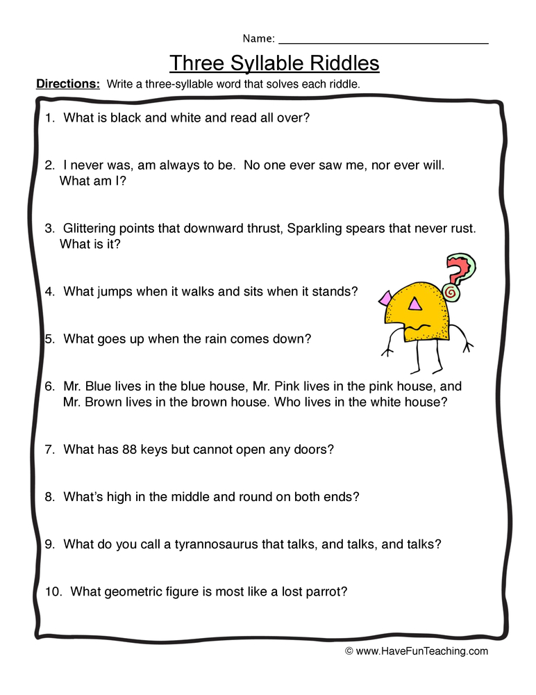syllables worksheet 3