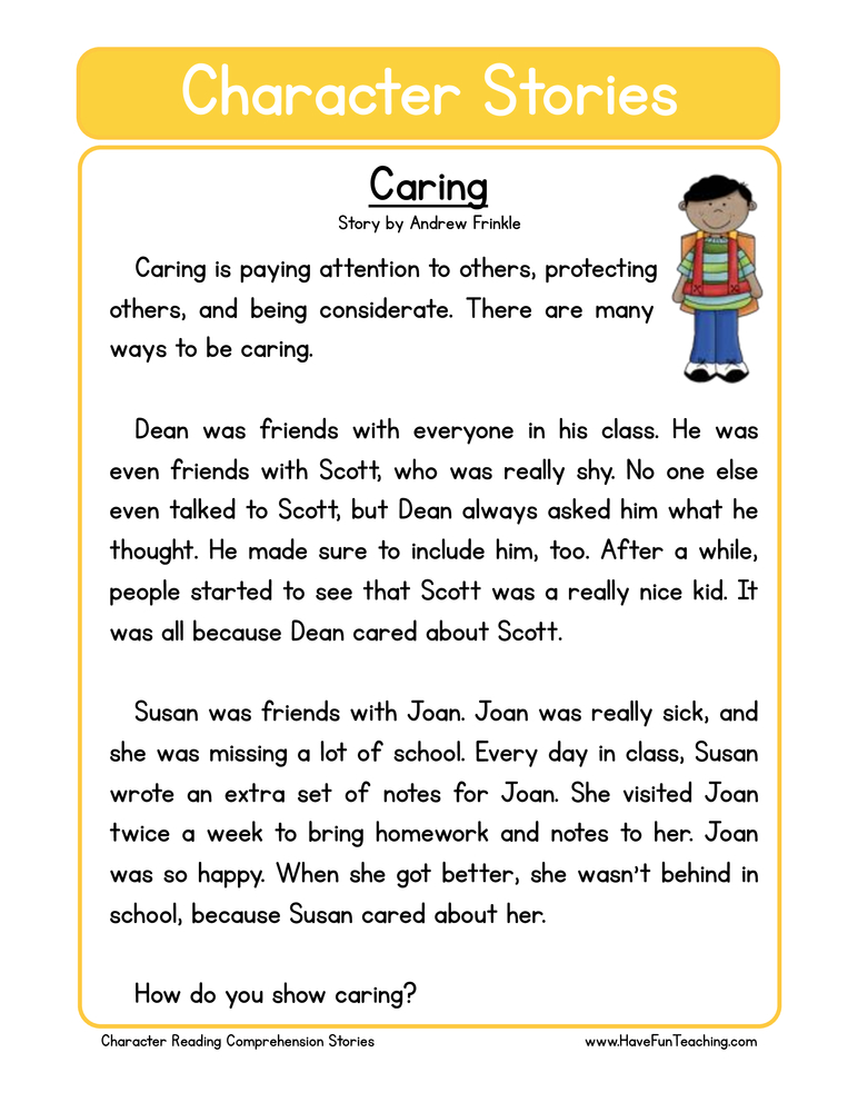 Caring Character Reading Comprehension Worksheet