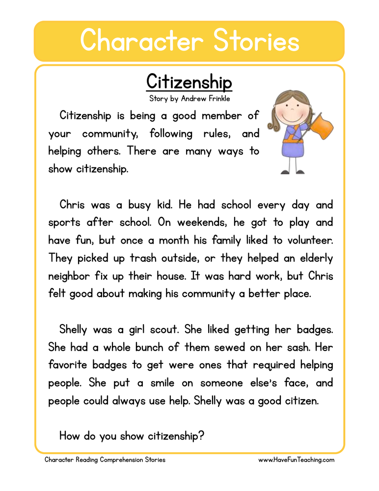 Character Education Worksheets Have Fun Teaching. Citizenship Character Reading Prehension Worksheet. Worksheet. Education Worksheets At Mspartners.co