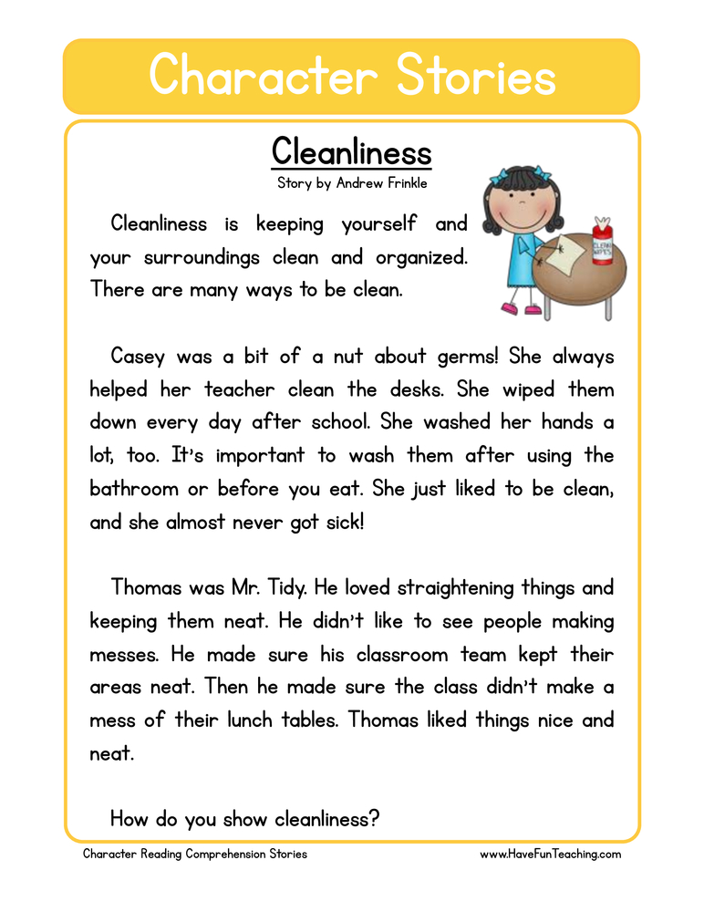 Cleanliness Character Reading Comprehension Worksheet