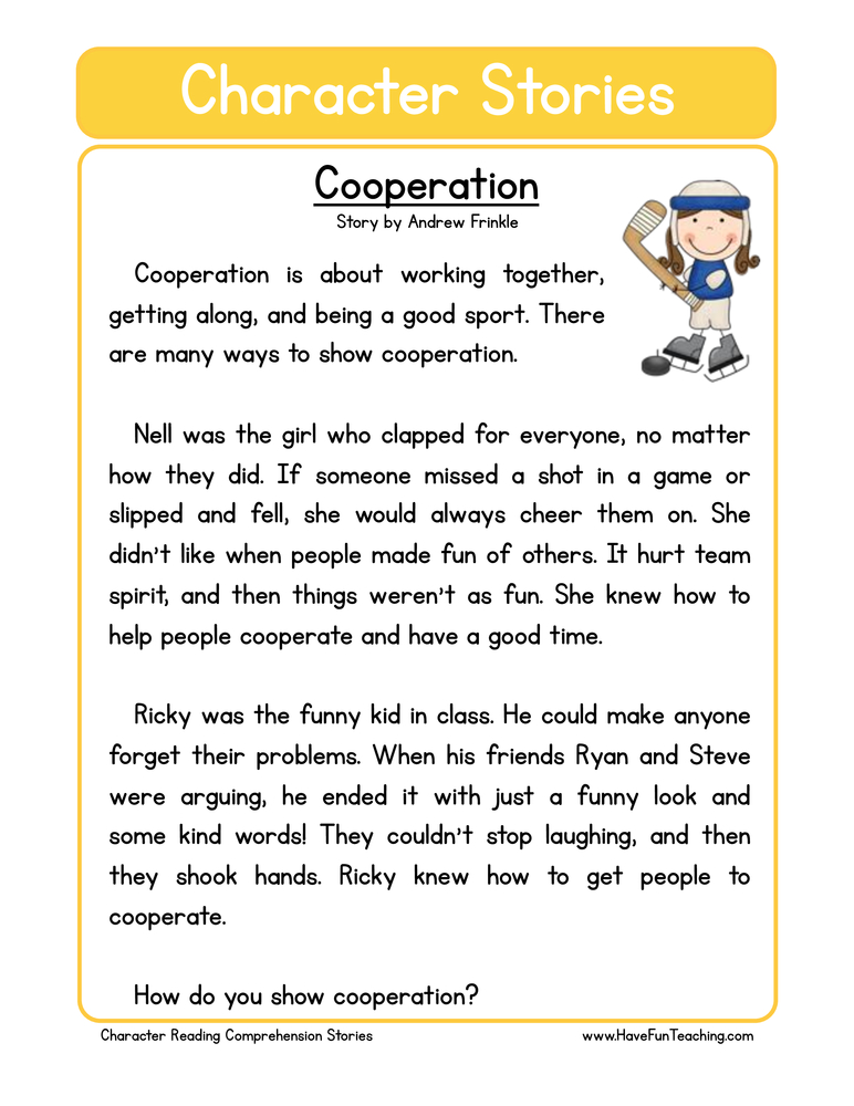 Cooperation Character Reading Comprehension Worksheet