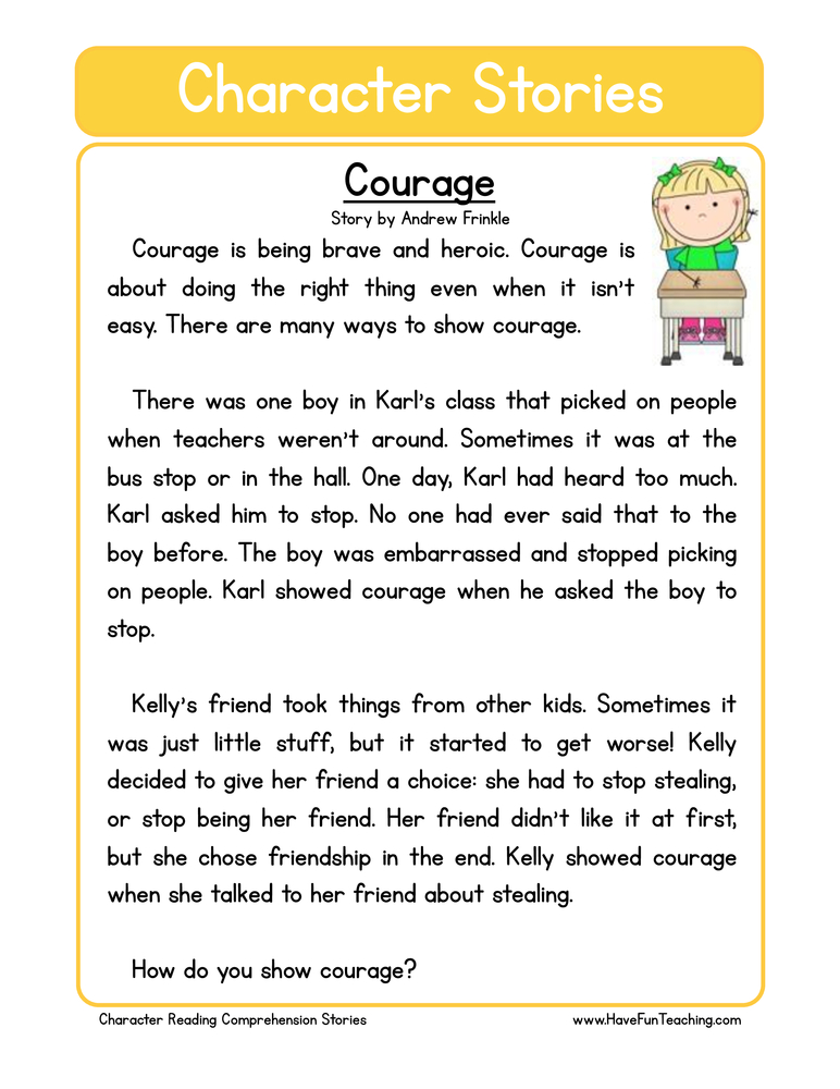 character stories comprehension courage