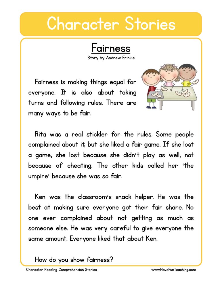 character stories comprehension fairness