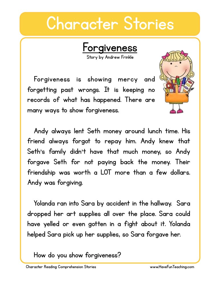 character stories comprehension forgiveness