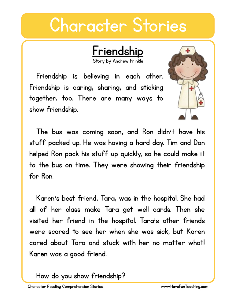 character stories comprehension friendship