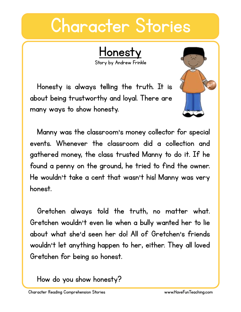 character stories comprehension honesty