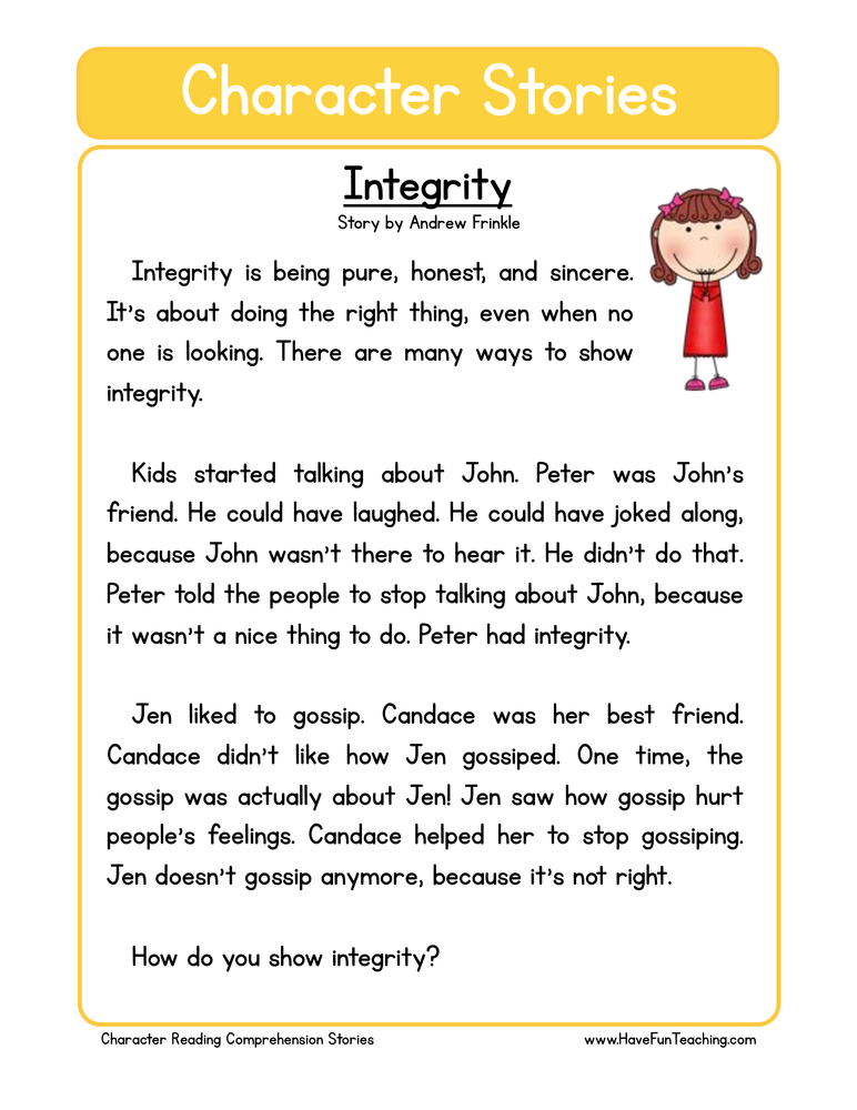 character stories comprehension integrity