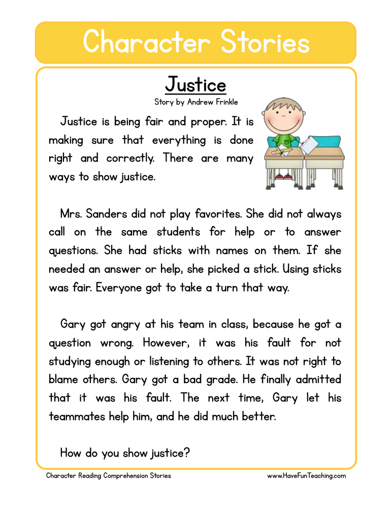 character stories comprehension justice