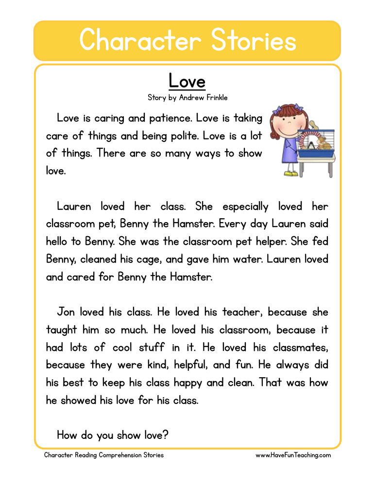 character stories comprehension love