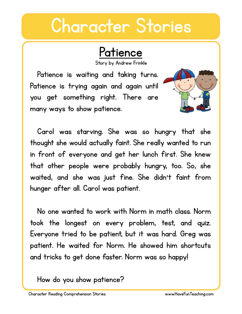 Patience Character Reading Comprehension Worksheet ...