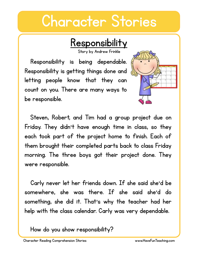 character stories comprehension responsibility