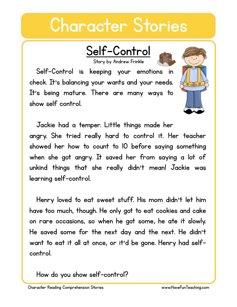 Worksheet Self Control Worksheets second grade reading comprehension worksheet character stories self control