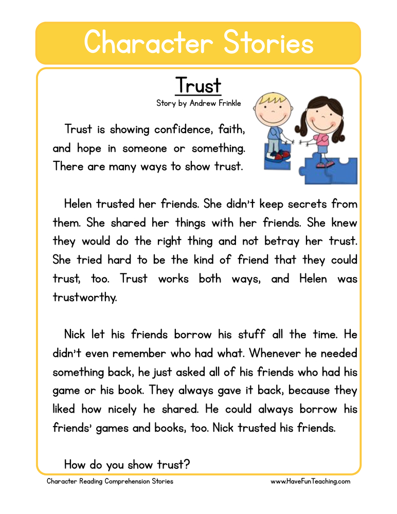 character stories comprehension trust