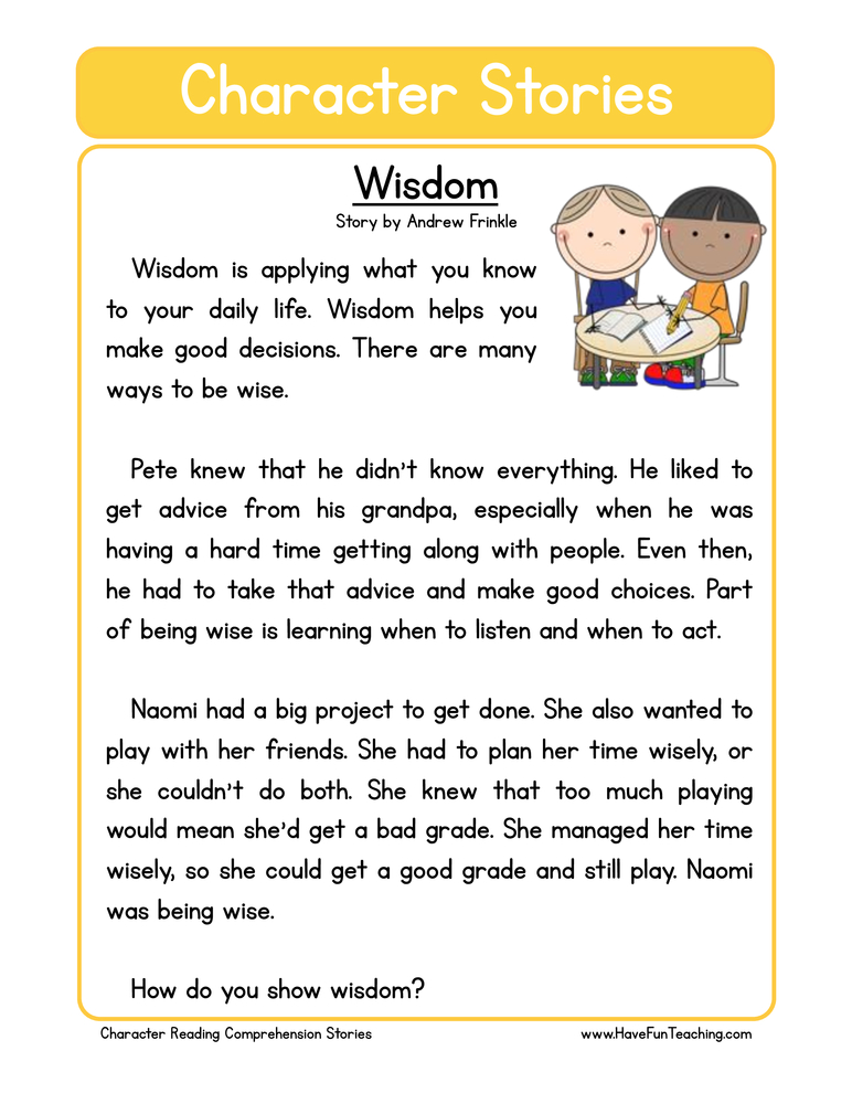 character stories comprehension wisdom