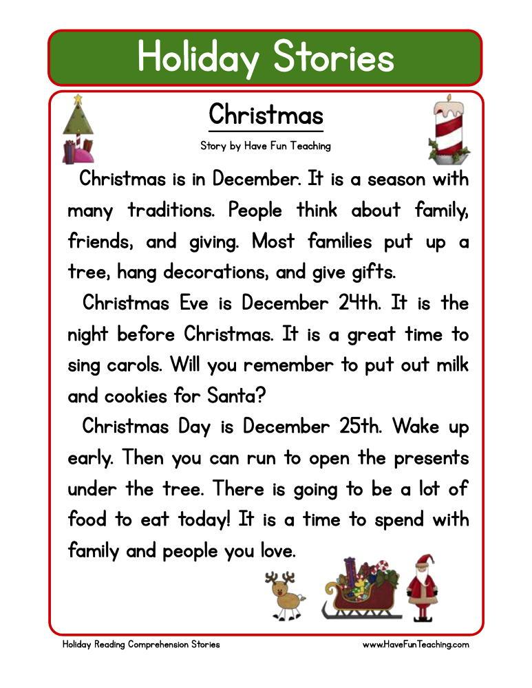 Christmas Reading Comprehension Worksheet Have Fun