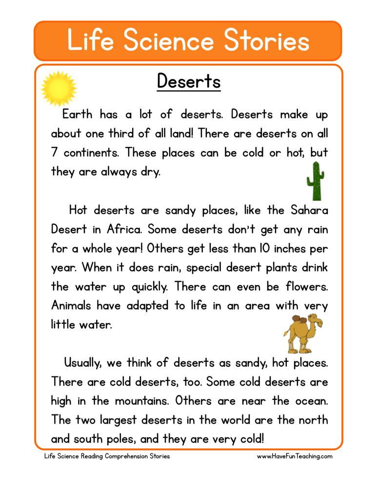 Deserts Life Science Reading Comprehension Worksheet