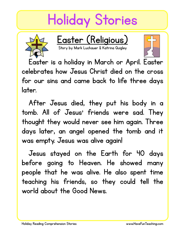 holiday stories comprehension easter (religious)