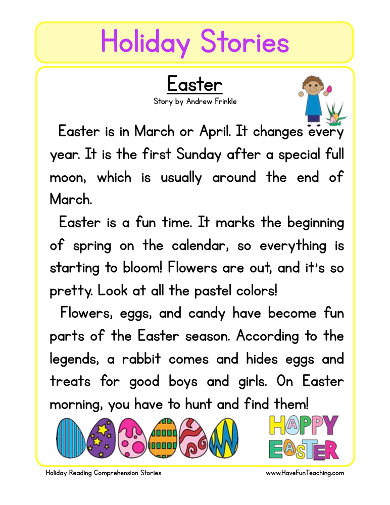 holiday stories comprehension easter