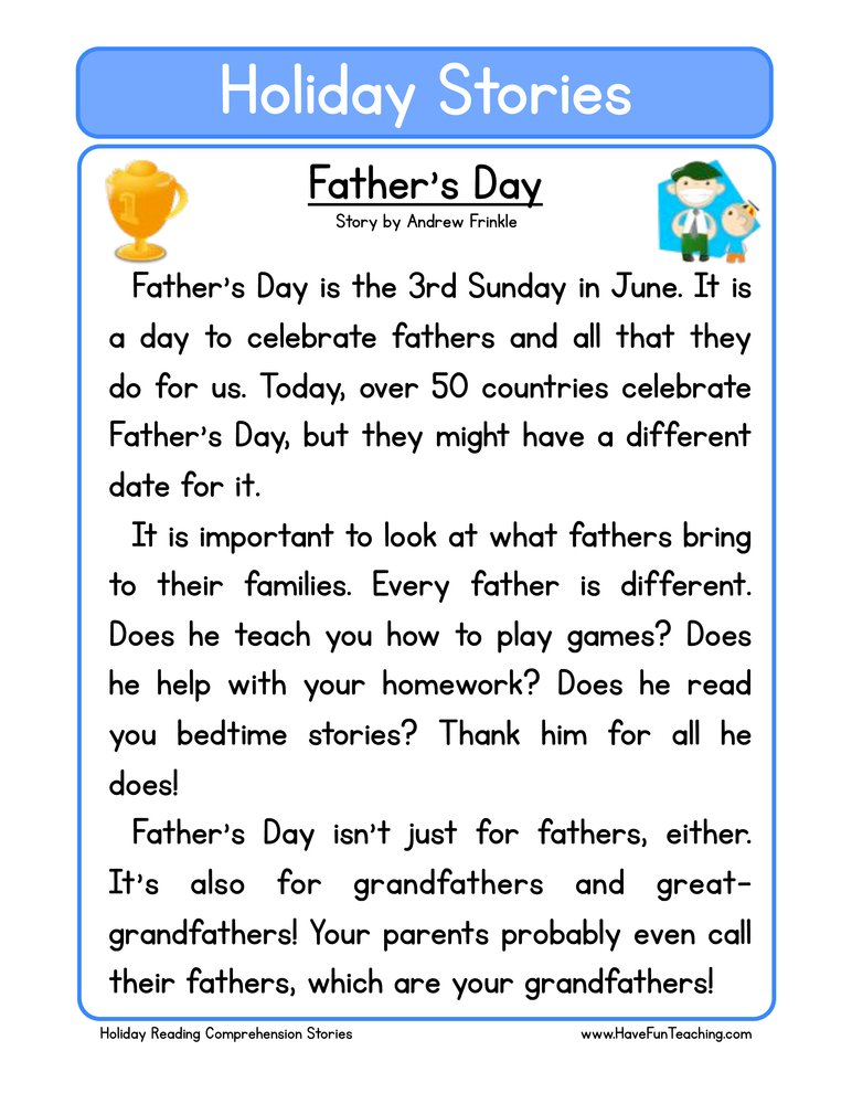 Fathers Day Reading Prehension Worksheet