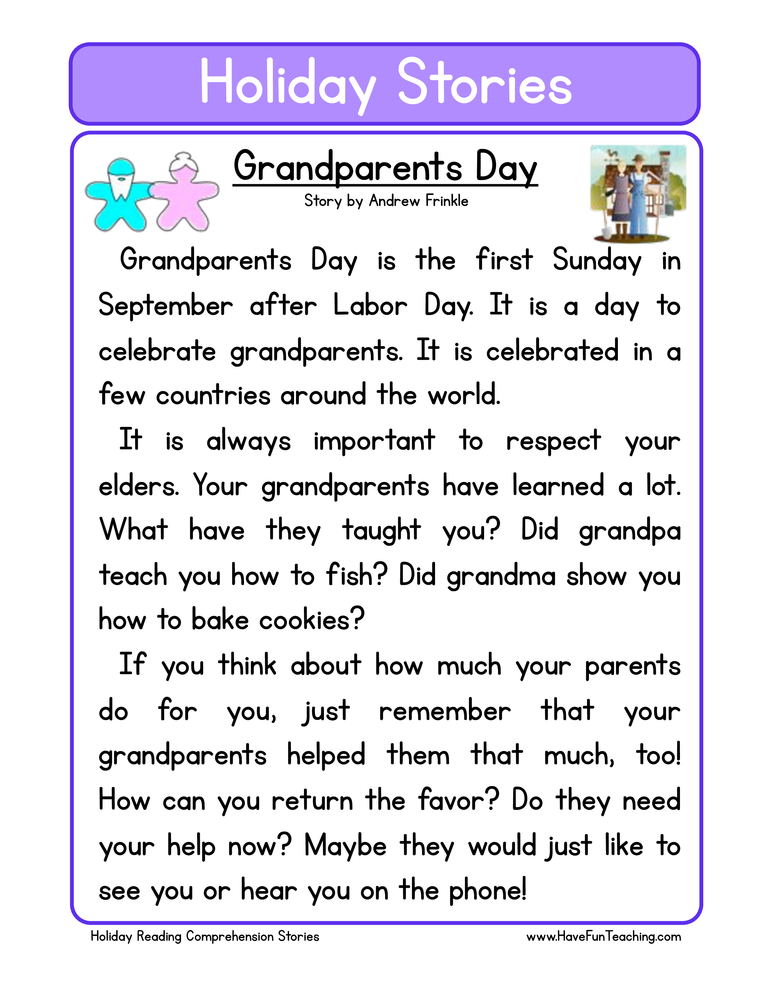 holiday stories comprehension grandparents day