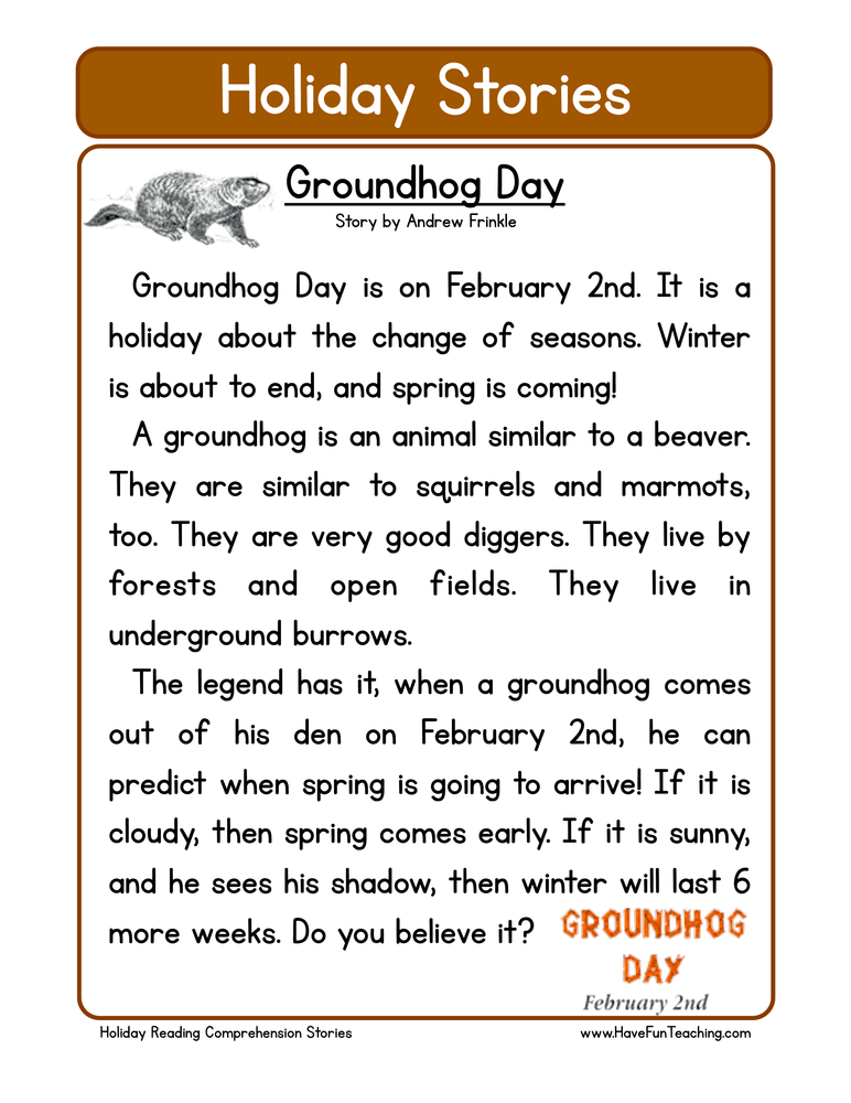 holiday stories comprehension groundhog day