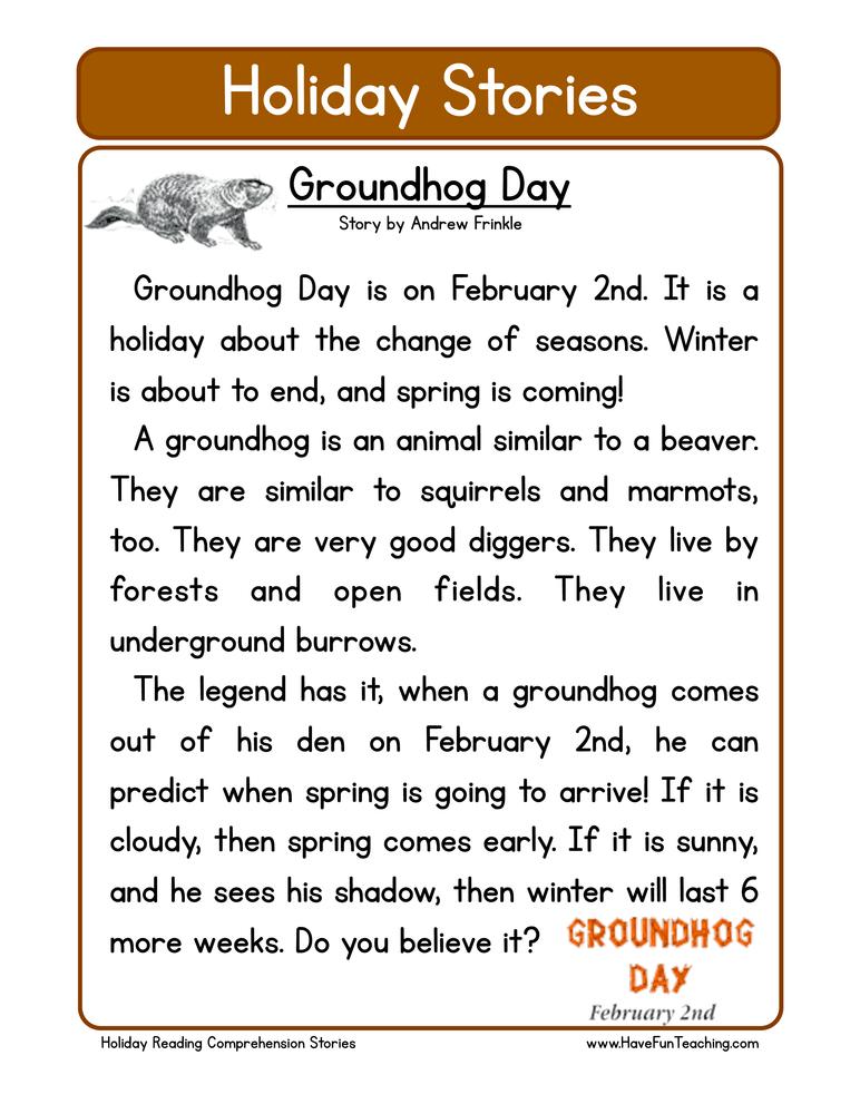 Groundhog Day | Worksheet | Education.com